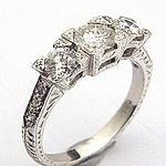 18k White Gold Diamond Trilogy Ring